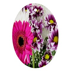 Purple White Flower Bouquet Ornament (oval) by Simbadda