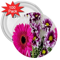 Purple White Flower Bouquet 3  Buttons (100 Pack)
