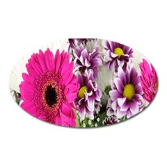 Purple White Flower Bouquet Oval Magnet by Simbadda