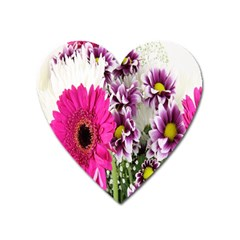 Purple White Flower Bouquet Heart Magnet by Simbadda
