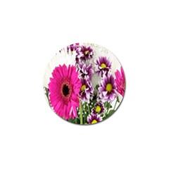 Purple White Flower Bouquet Golf Ball Marker by Simbadda