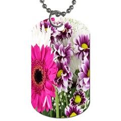 Purple White Flower Bouquet Dog Tag (two Sides) by Simbadda
