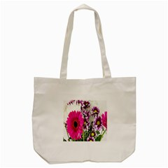 Purple White Flower Bouquet Tote Bag (cream) by Simbadda