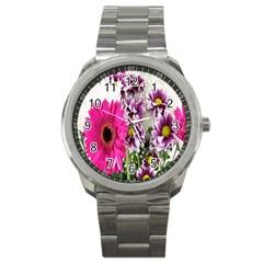 Purple White Flower Bouquet Sport Metal Watch by Simbadda