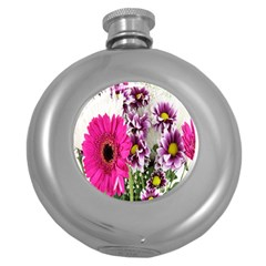 Purple White Flower Bouquet Round Hip Flask (5 Oz) by Simbadda