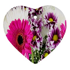 Purple White Flower Bouquet Heart Ornament (two Sides) by Simbadda