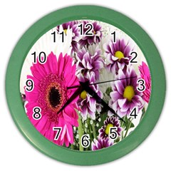 Purple White Flower Bouquet Color Wall Clocks by Simbadda