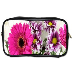 Purple White Flower Bouquet Toiletries Bags by Simbadda
