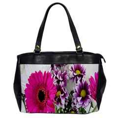 Purple White Flower Bouquet Office Handbags by Simbadda
