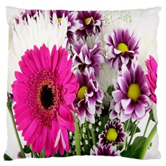 Purple White Flower Bouquet Large Cushion Case (two Sides) by Simbadda