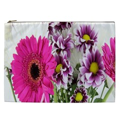 Purple White Flower Bouquet Cosmetic Bag (xxl)  by Simbadda