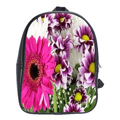 Purple White Flower Bouquet School Bags (xl)  by Simbadda