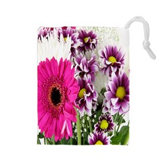 Purple White Flower Bouquet Drawstring Pouches (large)  by Simbadda