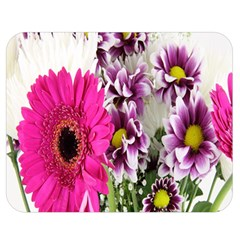 Purple White Flower Bouquet Double Sided Flano Blanket (medium)  by Simbadda