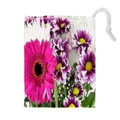 Purple White Flower Bouquet Drawstring Pouches (extra Large) by Simbadda
