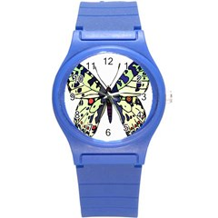 A Colorful Butterfly Image Round Plastic Sport Watch (s) by Simbadda