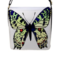 A Colorful Butterfly Image Flap Messenger Bag (l)  by Simbadda