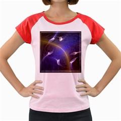 Fractal Magic Flames In 3d Glass Frame Women s Cap Sleeve T Shirt