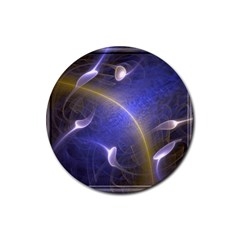 Fractal Magic Flames In 3d Glass Frame Rubber Coaster (round)  by Simbadda