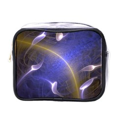 Fractal Magic Flames In 3d Glass Frame Mini Toiletries Bags by Simbadda