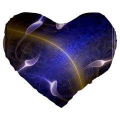 Fractal Magic Flames In 3d Glass Frame Large 19  Premium Heart Shape Cushions by Simbadda