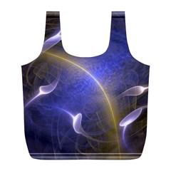 Fractal Magic Flames In 3d Glass Frame Full Print Recycle Bags (l)  by Simbadda