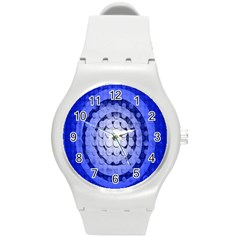 Abstract Background Blue Created With Layers Round Plastic Sport Watch (m) by Simbadda