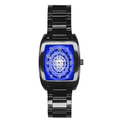 Abstract Background Blue Created With Layers Stainless Steel Barrel Watch by Simbadda