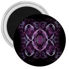 Fractal In Lovely Swirls Of Purple And Blue 3  Magnets by Simbadda
