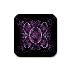 Fractal In Lovely Swirls Of Purple And Blue Rubber Square Coaster (4 Pack)  by Simbadda