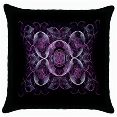 Fractal In Lovely Swirls Of Purple And Blue Throw Pillow Case (black) by Simbadda