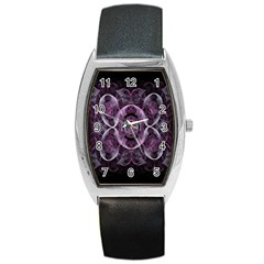 Fractal In Lovely Swirls Of Purple And Blue Barrel Style Metal Watch by Simbadda