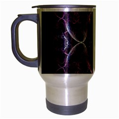 Fractal In Lovely Swirls Of Purple And Blue Travel Mug (silver Gray) by Simbadda