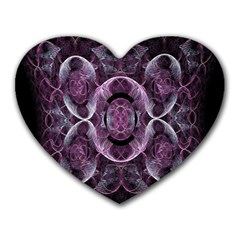 Fractal In Lovely Swirls Of Purple And Blue Heart Mousepads by Simbadda