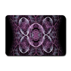Fractal In Lovely Swirls Of Purple And Blue Small Doormat  by Simbadda