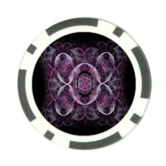 Fractal In Lovely Swirls Of Purple And Blue Poker Chip Card Guard by Simbadda
