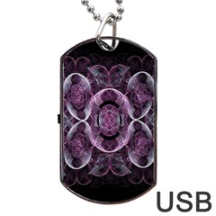 Fractal In Lovely Swirls Of Purple And Blue Dog Tag Usb Flash (one Side) by Simbadda