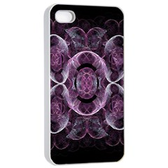 Fractal In Lovely Swirls Of Purple And Blue Apple Iphone 4/4s Seamless Case (white) by Simbadda