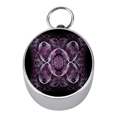 Fractal In Lovely Swirls Of Purple And Blue Mini Silver Compasses by Simbadda
