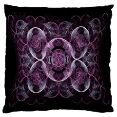 Fractal In Lovely Swirls Of Purple And Blue Large Flano Cushion Case (two Sides) by Simbadda