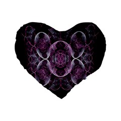 Fractal In Lovely Swirls Of Purple And Blue Standard 16  Premium Flano Heart Shape Cushions by Simbadda