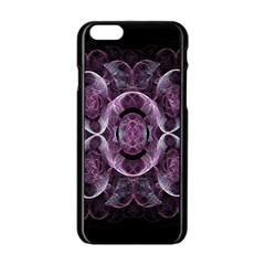 Fractal In Lovely Swirls Of Purple And Blue Apple Iphone 6/6s Black Enamel Case by Simbadda