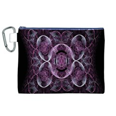 Fractal In Lovely Swirls Of Purple And Blue Canvas Cosmetic Bag (xl) by Simbadda