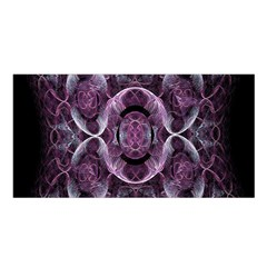 Fractal In Lovely Swirls Of Purple And Blue Satin Shawl by Simbadda