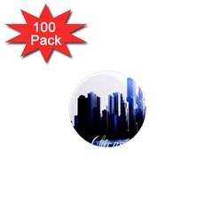 Abstract Of Downtown Chicago Effects 1  Mini Magnets (100 Pack)  by Simbadda