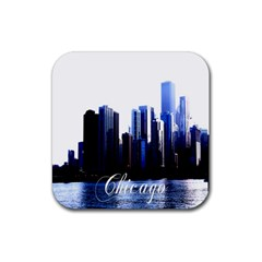 Abstract Of Downtown Chicago Effects Rubber Square Coaster (4 Pack)  by Simbadda