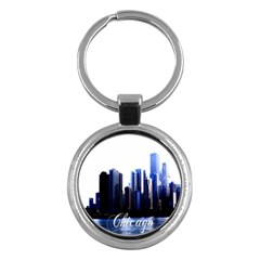 Abstract Of Downtown Chicago Effects Key Chains (round)  by Simbadda