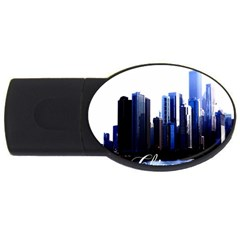 Abstract Of Downtown Chicago Effects Usb Flash Drive Oval (4 Gb) by Simbadda