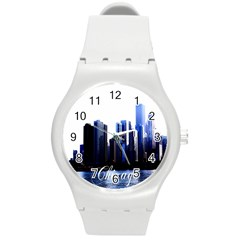 Abstract Of Downtown Chicago Effects Round Plastic Sport Watch (m) by Simbadda