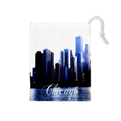 Abstract Of Downtown Chicago Effects Drawstring Pouches (medium)  by Simbadda